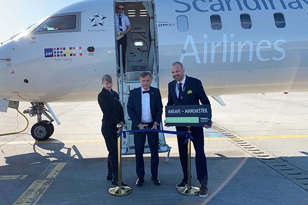 Som den første af forårets mange rutenyheder i Aarhus Airport er den nye direkte rute mellem Aarhus og Manchester nu i luften.