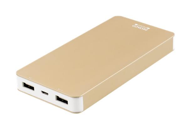Deltaco Prime. Elegante powerbanks i aluminium sølv eller guld med batteriindikator og i 2 kapaciteter.